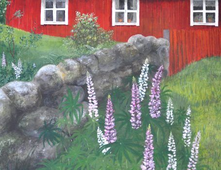 RED COTTAGE WITH STONE WALL