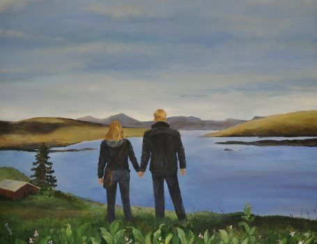 YOUNG COUPLE IN THE MOUNTAIN